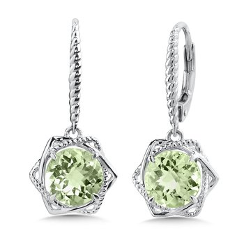 Sterling Silver Green Amethyst Leverback Earrings