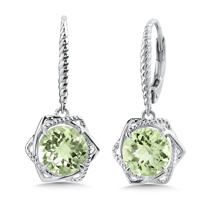 Colore Sg Sterling Silver Green Amethyst Leverback Earrings