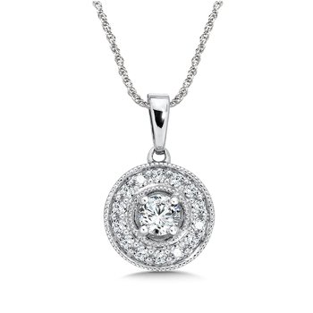 Pave set Diamond Round Halo Pendant, 14k White Gold  (1/3 ct. tw.) HI/I1
