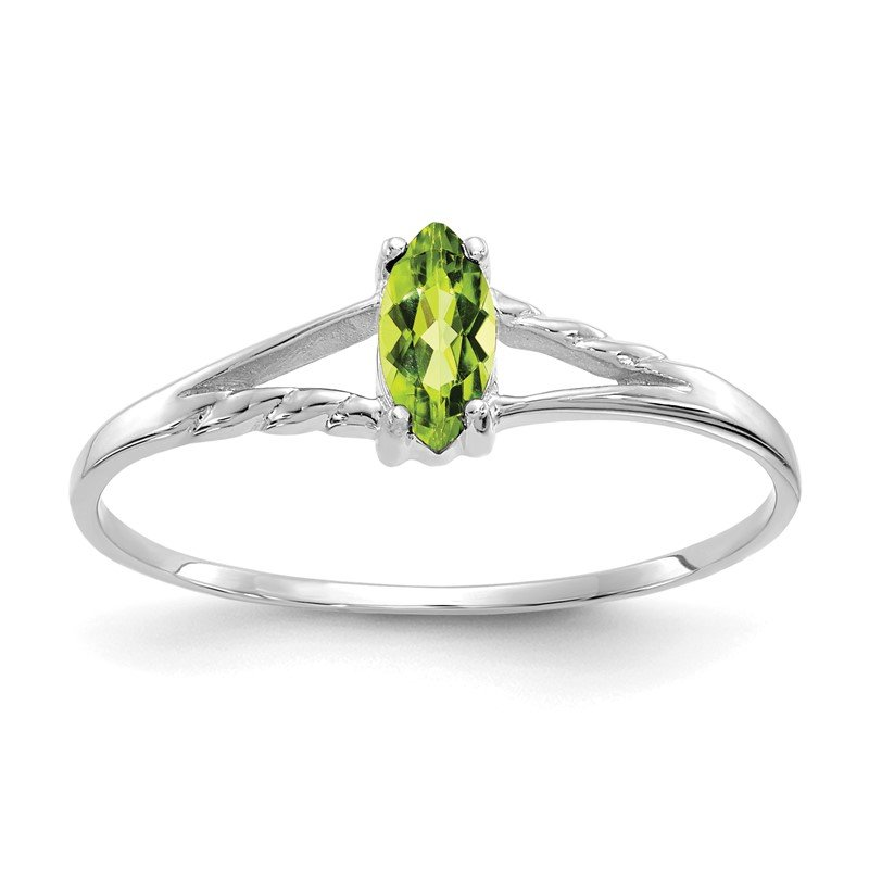 Quality Gold 10k White Gold Polished Geniune Peridot Birthstone Ring