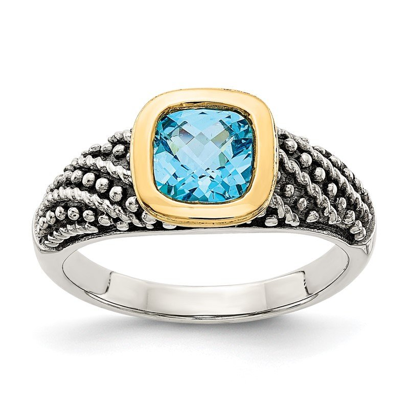Quality Gold Sterling Silver w/14k Lt Swiss Blue Topaz Ring