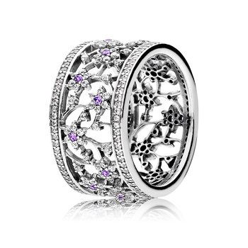 Forget Me Not Ring, Purple Clear Cz