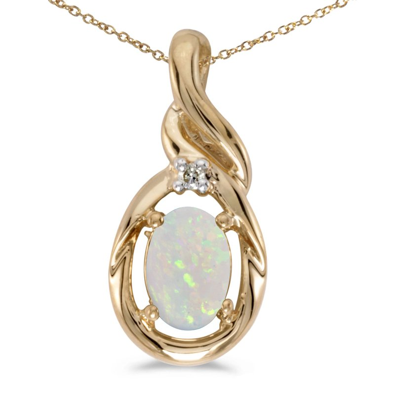 Color Merchants 14k Yellow Gold Oval Opal And Diamond Pendant