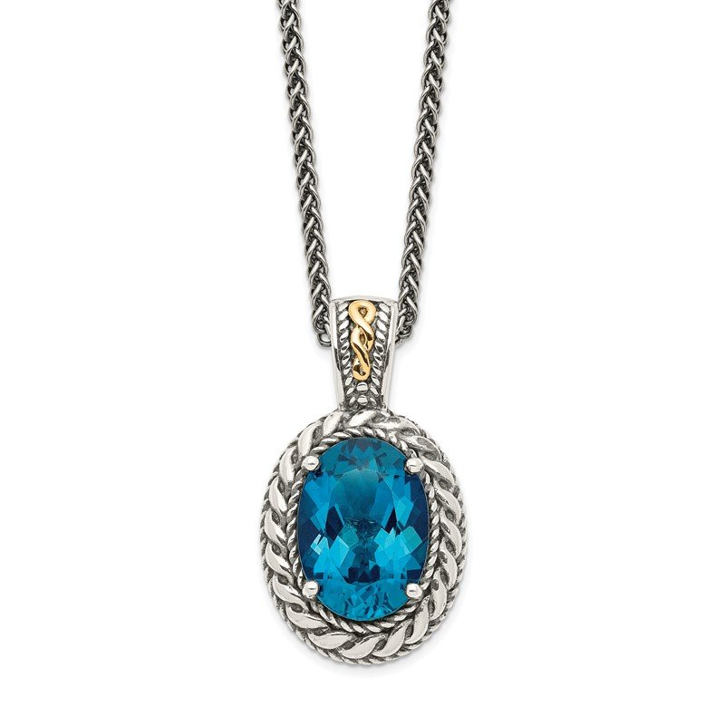 Quality Gold Sterling Silver w/14k London Blue Topaz Hinged Bail Necklace