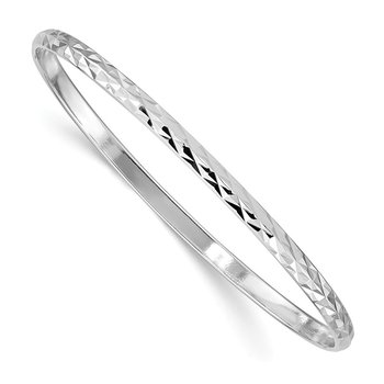 Sterling Silver Rhod. Plated D/C Slip-on Child's Bangle