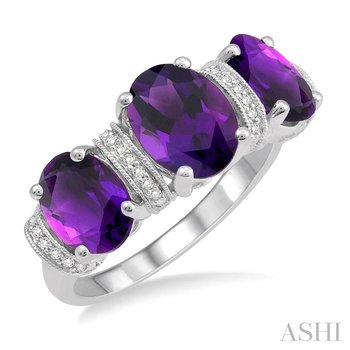 oval shape past present & future gemstone & diamond ring