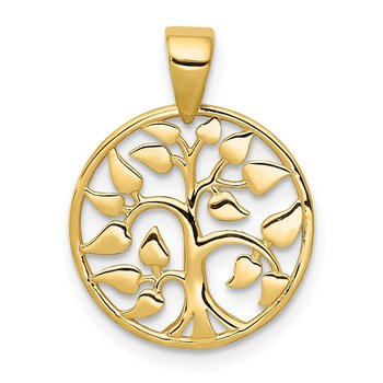 14k Gold Polished Tree in Circle Pendant
