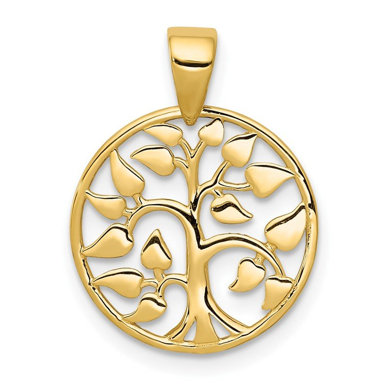Quality Gold 14k Gold Polished Tree in Circle Pendant