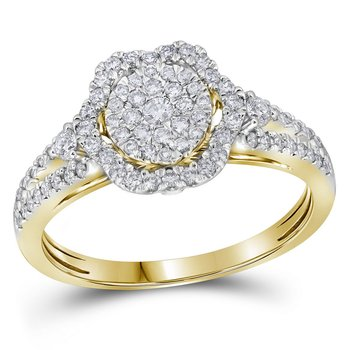 14kt Yellow Gold Womens Round Diamond Cluster Bridal Wedding Engagement Ring 5/8 Cttw