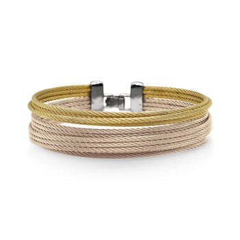 Carnation & Yellow Cable Double Stack Bracelet