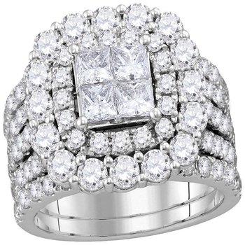 14kt White Gold Womens Princess Diamond Cluster Halo Bridal Wedding Engagement Ring Band Set 4-1/2 Cttw