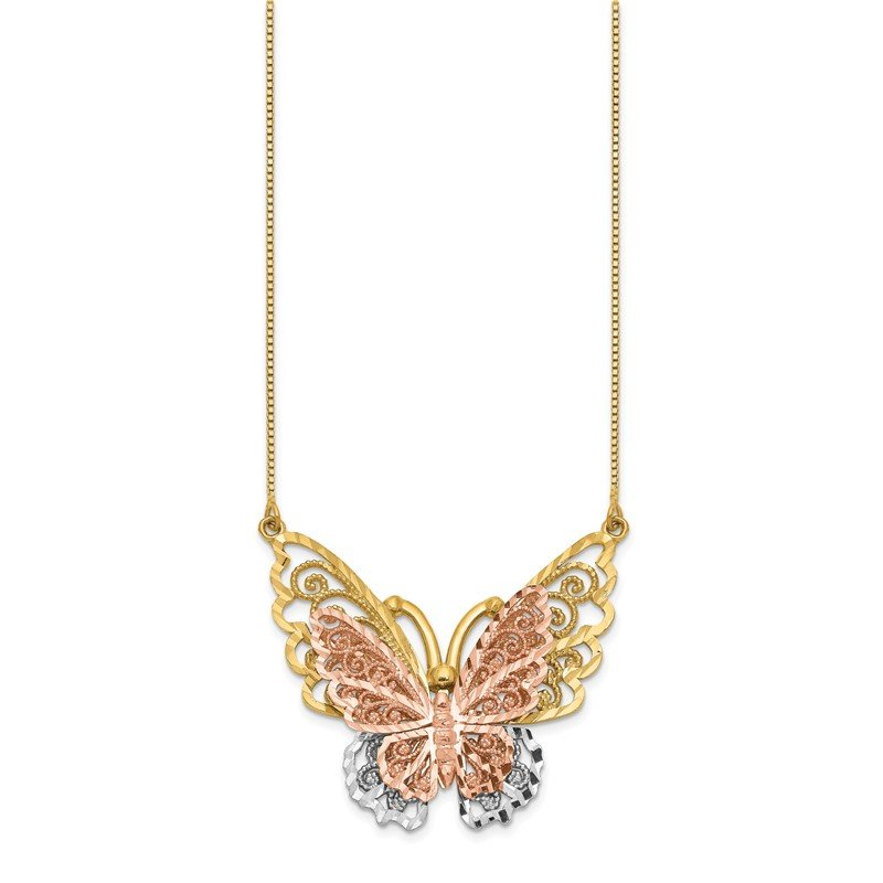 Quality Gold 14k Yellow & Rose Gold w/ Rhodium Butterfly Necklace