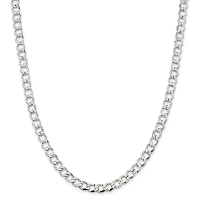 Quality Gold Sterling Silver 6.4mm Semi-solid Flat Curb Chain