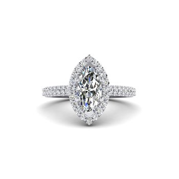 Marquise Shaped Diamond Halo Engagement Ring