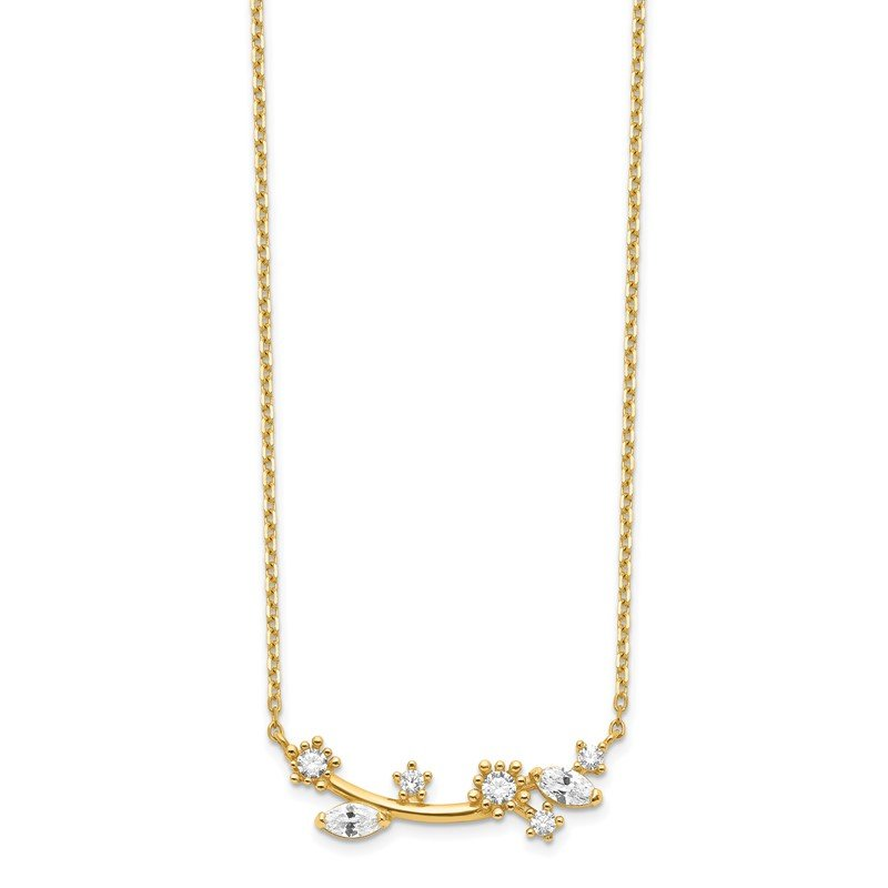 Quality Gold 14K Flower with Crystal & CZ with 2IN EXT Necklace