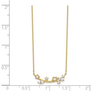 14K Flower with Crystal & CZ with 2IN EXT Necklace