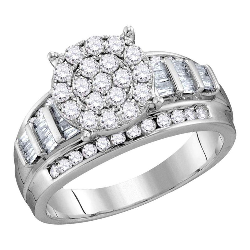 Kingdom Treasures 10kt White Gold Womens Round Diamond Cluster Bridal Wedding Engagement Ring 2.00 Cttw