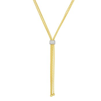 14K Gold Popcorn Fringe Diamond Tassel Lariat Necklace