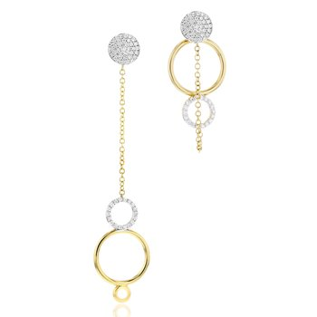 Yellow gold diamond Affair chain drop open loop Pick-Me-Up earrings