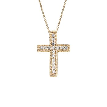 14K Yellow Gold .10 Ct Diamond Scroll Cross Pendant