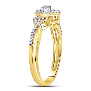 10kt Yellow Gold Womens Round Diamond Teardrop Cluster Curl Ring 1/8 Cttw