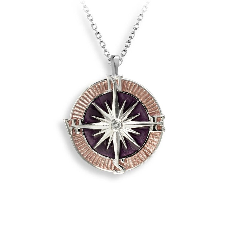 Nicole Barr Designs Purple Compass Rose Necklace.Sterling Silver-White Sapphire