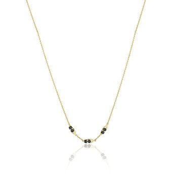 Petite Open Crescent Gemstone Necklace with Black Onyx