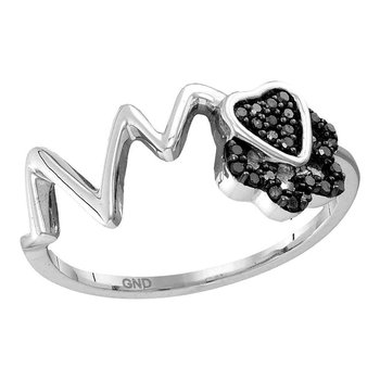 Sterling Silver Womens Round Black Color Enhanced Diamond Heartbeat Heart Band Ring 1/6 Cttw