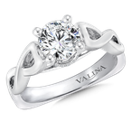 Valina Mounting with side stones .08 ct. tw., 1 ct. round center.
