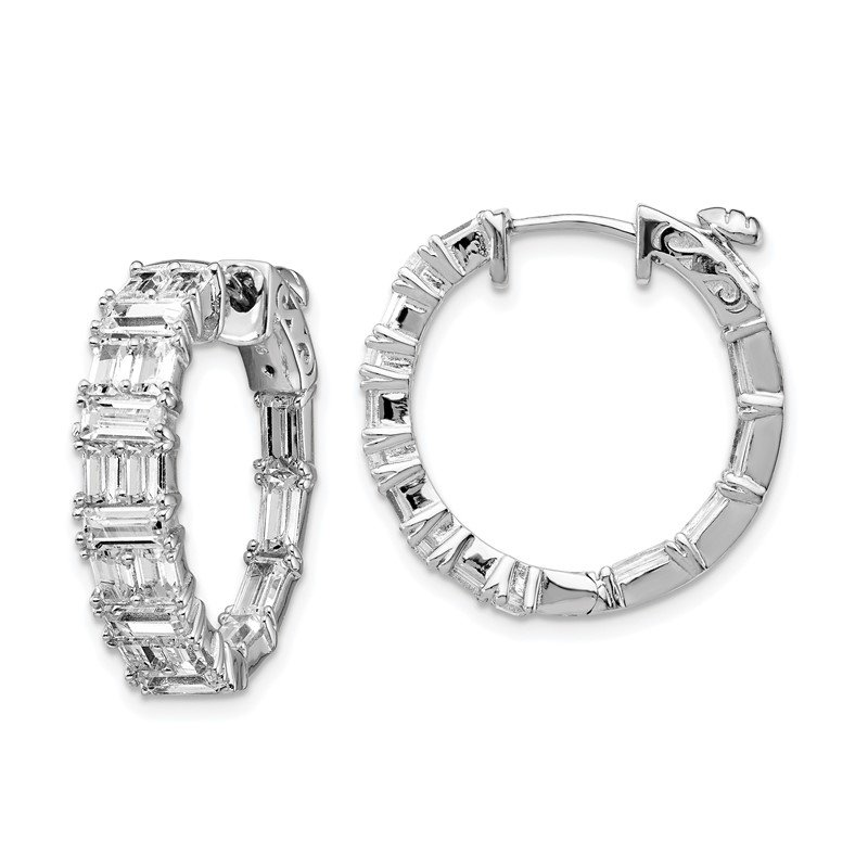 Quality Gold Sterling Silver CZ In and Out Round Hoop Earrings