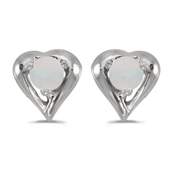 14k White Gold Round Opal Heart Earrings