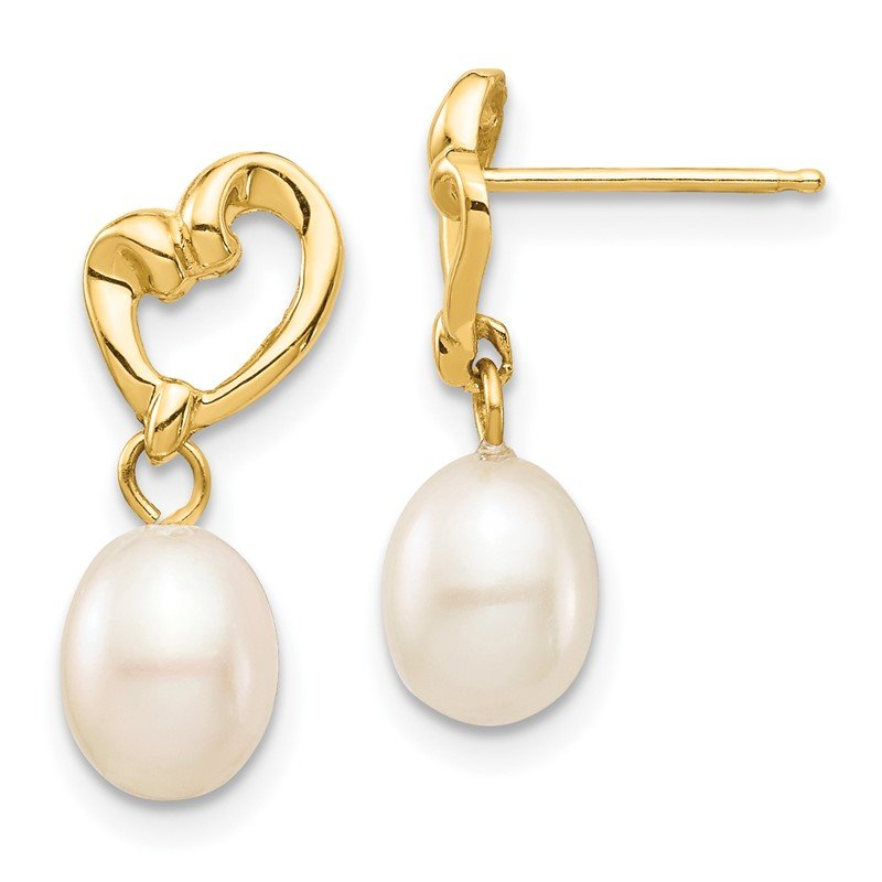 Quality Gold 14K Madi K 5-6mm White Rice FWC Pearl Heart Dangle Earrings