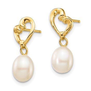 14K Madi K 5-6mm White Rice FWC Pearl Heart Dangle Earrings