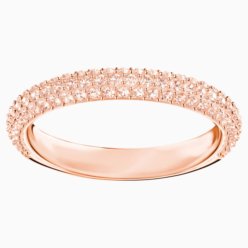 Swarovski Stone Ring, Pink, Rose-gold tone plated
