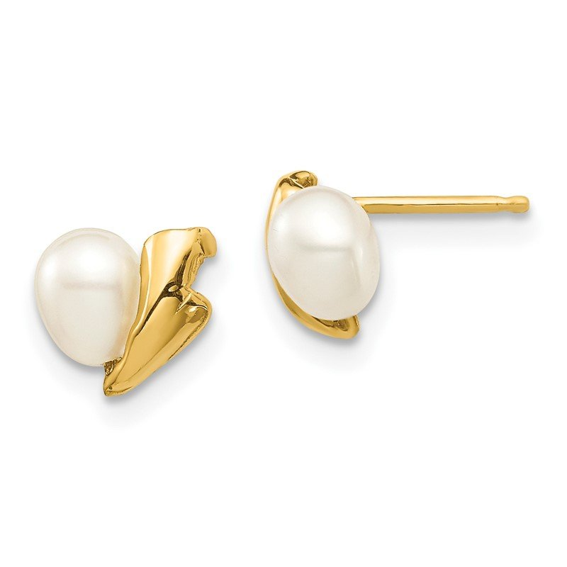 Fine Jewelry by JBD 14k Madi K 4-5mm White Rice Freshwater Cultured Pearl Post Earrings