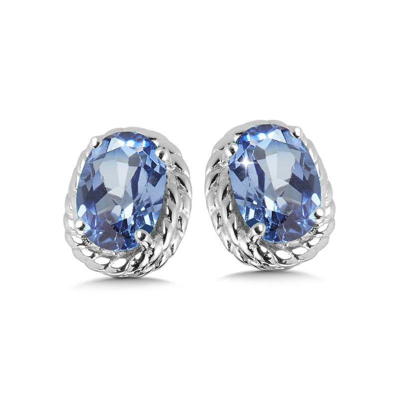 SDC Creations Created Blue Sapphire Earrings in Sterling Silver