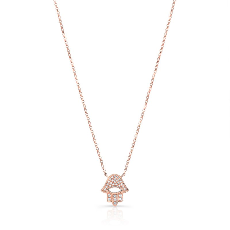 Rose Gold Piety Pave Open Hamsa Necklace
