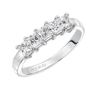 14K White Gold Princess Diamond Wedding Band