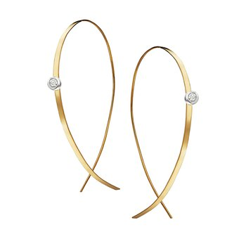 Small Flat Upside Down Hoops with Diamonds