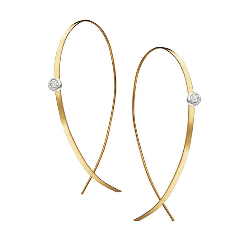 Lana Jewelry Small Flat Upside Down Hoops with Diamonds