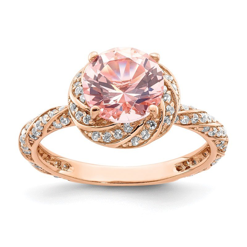 Quality Gold Sterling Silver Rose-tone White CZ and Pink Crystal Ring