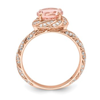 Sterling Silver Rose-tone White CZ and Pink Crystal Ring