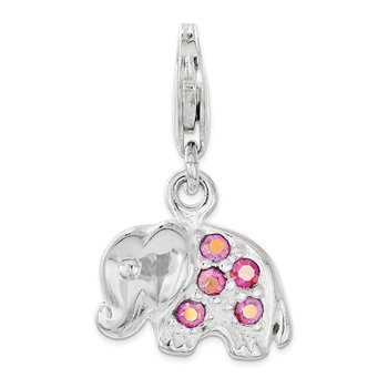 Sterling Silver Polished w/ Pink Crystal Elephant Lobster Clasp Charm