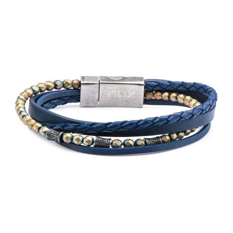 INOX Multi Layered Blue Leather and Blue Hematite Beads Bracelet