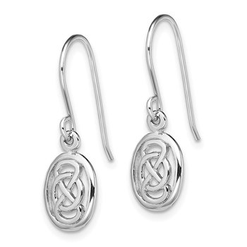 Sterling Silver Rhodium-plated Polished Celtic Knot in Oval Earrings