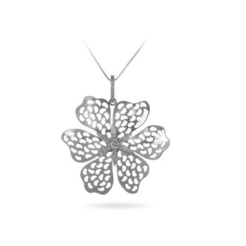 14K WG Laser Flower Pendant with Dia Star in center