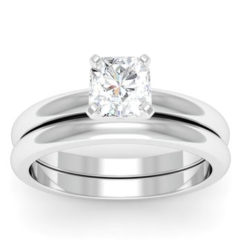 Classic Four Prong Engagement Ring with Matching Wedding Band