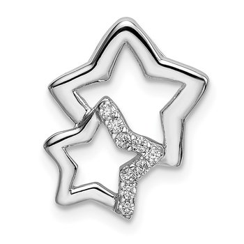 Sterling Silver Rhodium-plated CZ 2-Star Chain Slide