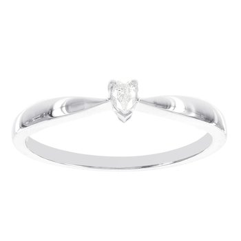 14k White Gold Diamond Accent Heart Shaped Solitaire Promise Ring