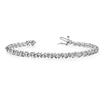 14k White Gold XO Diamond Tennis Bracelet